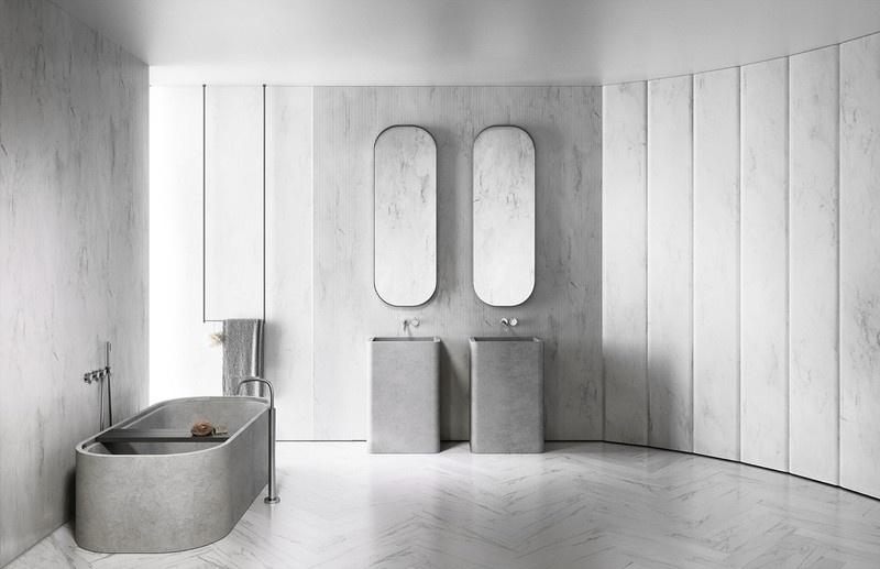 Những mẫu phòng tắm có bồn bằng đá tuyệt đẹp