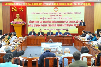 Hiệp thương lần 3 chọn đại biểu Trung ương đủ tiêu chuẩn ứng cử ĐBQH