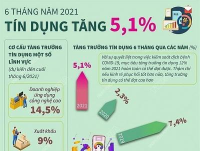 Tín dụng trong 6 tháng đầu năm 2021 tăng 5,1%
