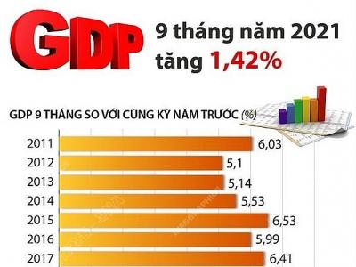 GDP của cả nước 9 tháng năm 2021 tăng 1,42%