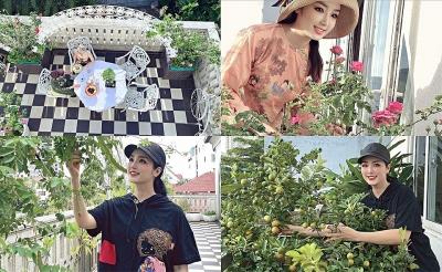 Khu vườn 200m2 nhiều hoa trái trong biệt thự của Hoa hậu Đền Hùng Giáng My