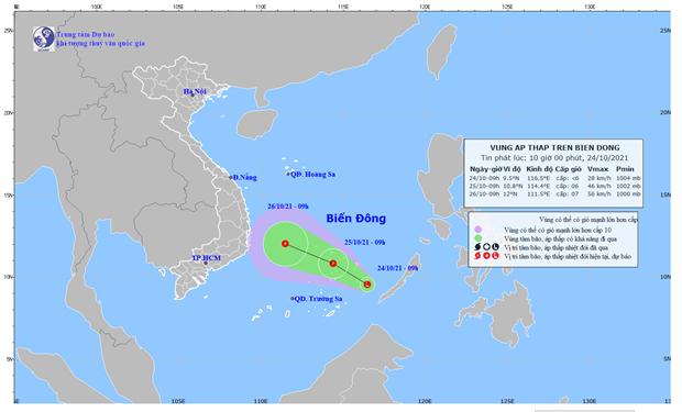 Xuất hiện vùng áp thấp trên Biển Đông, dự báo có thể mạnh lên