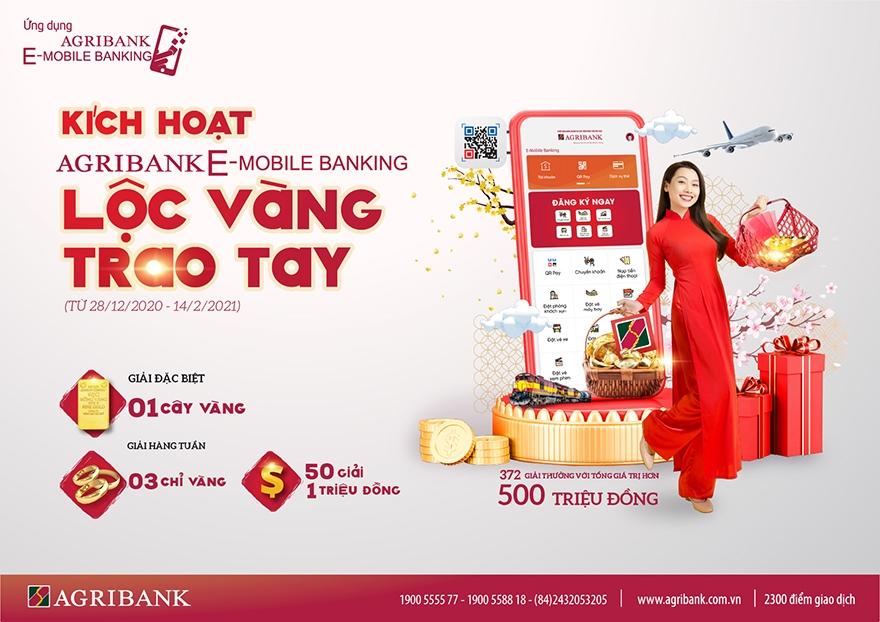 """Rộn ràng đón năm mới """"Kích hoạt Agribank E-Mobile Banking - Lộc vàng trao tay"""""""