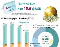 Thu hút FDI đạt hơn 15,6 tỷ USD trong 6 tháng đầu năm