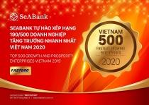 SeABank tăng hạng vượt bậc, đứng 190/500 trong bảng xếp hạng FAST 500