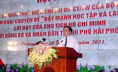 Đẩy mạnh học tập và làm theo lời dạy của Chủ tịch Hồ Chí Minh với Đảng bộ và nhân dân thành phố Hải Phòng